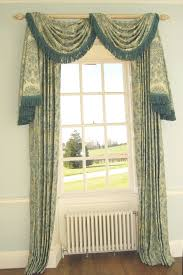 interior green floral pattern curtain with valance and tassel
