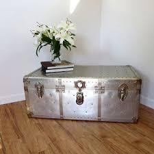 Aluminum Coffee Table Vintage Industrial Aluminum Rivet Coffee Table Storage Aircraft