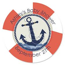 nautical baby shower ahoy nautical personalized baby shower sticker labels 24 ct