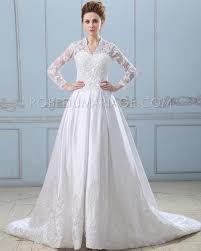 robe de mariée royale manches longues en satin décorée de dentelle - Robe Mariã E Manche Longue