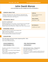 Modern Resume Templates Word Sample Resume Format For Fresh Graduates One Page Format
