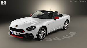 fiat spider white 360 view of fiat 124 spider abarth 2017 3d model hum3d store