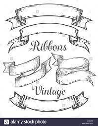 vintage ribbon ribbon retro vintage illustration vector set sketch
