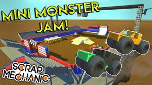 monster truck video game play mini monster jam arena u0026 trucks scrap mechanic gameplay
