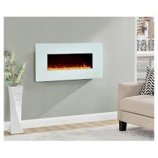 Electric Wallmount Fireplace Kenna Large Wall Mounted Electric Fireplace White Altra Target