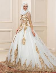 custom wedding dress aliexpress buy gold lace muslim wedding dresses with sleeves