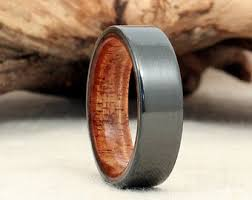 bog the wedding band black zirconium wood ring lined with ancient russian bog oak