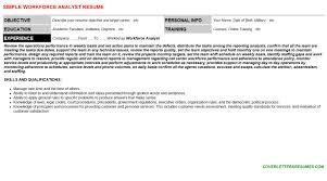 workforce analyst cover letter u0026 resume