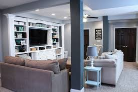 finished basement ideas before after built in entertainment