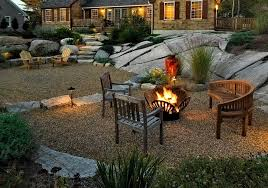 Gravel Fire Pit Area - pea gravel fire pit patio rustic with teak bench farmhouse baskets