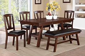 dining room set with bench amazon com poundex f2271 f1331 f1332 walnut table