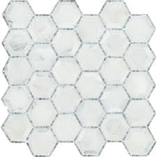 Elegance Black And White Mosaic by Telaio Hexagon 12 In X 12 In X 10 Mm Honed Marble Mesh Mounted