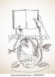 sketch man holding book stock vector 263023274 shutterstock