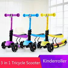 3 en 1 enfant scooter jouet fille tricycle avec ajuster poignée et