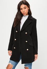 black short faux wool military coat missguided