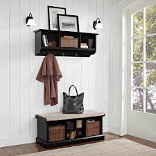 wooden entryway tall hall tree bench coat and hat rack image with