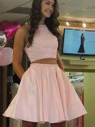 two pieces a line homecoming dress short pink homecoming dresses