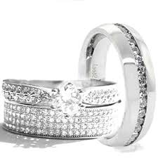 Stainless Steel Wedding Rings by Amazon Com His U0026 Hers 3 Pieces 925 Sterling Silver U0026 Stainless