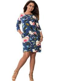 multi color floral quarter sleeve big size mini dress plus size