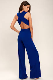 royal blue jumpsuit thinking out loud royal blue backless jumpsuit front of bodice is
