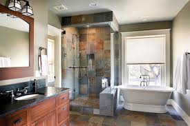 slate tile shower bathroom rustic with bathroom lighting cabin