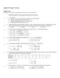 algebra ii chapter 11 series multiple choice identify the choice that