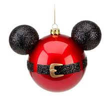 mickey mouse icon santa belt glass ornament disney theme