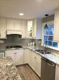 glass tile backsplash ideas for kitchens lush fog bank gray subway tile kitchen and corner glass subway tile