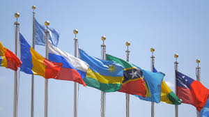 Picture Of Un Flag Waving Flags Of Part Of The United Nations Members Countries Un
