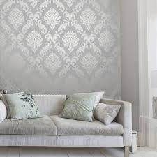 henderson interiors chelsea glitter damask wallpaper soft grey