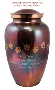 small cremation urns keepsake paw prints classic heart raku pet cremation urn engravable