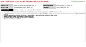 Data Entry Profile Resume Sample Resume For Data Entry Best Data Entry Resume Example