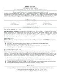 maintenance technician resume mechanical maintenance technician resume shopmed info