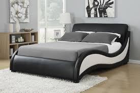curved bed frame black white leatherette upholstered bed frame caravana furniture