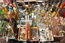 various things for sale on a flea market stock editorial photo