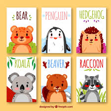 collection of cards with animals vector free