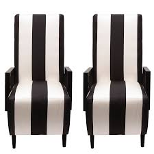 Black And White Striped Chair by Highback Dining Chairs In Black U0026 White Striped Silk Pair U2013 Sasha
