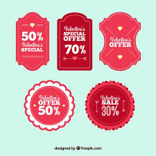 valentines sales retro valentines day sales labels vector premium