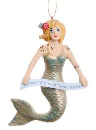 tattooed mermaid ornament in blond by foster co