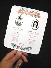 fan wedding program template diy easy peasy paddle programs