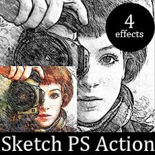 pencil sketch photoshop action special effects and textures