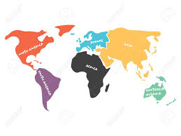 Oceania Map Multicolored World Map Divided To Six Continents In Different