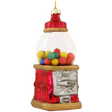 red and gold vintage gumball machine glass ornament novelty
