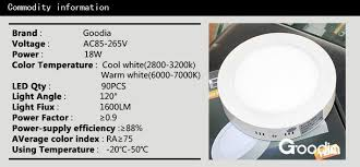kitchen light temperature wholesale 18w round led panel light ac85 265v 1600lm warm white