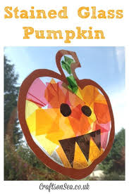Kids Stained Glass Craft - stained glass pumpkin suncatcher glass pumpkins suncatchers and
