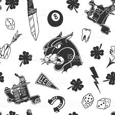 seamless pattern with traditional designs dice clover knife