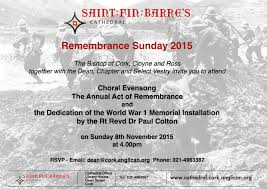 cork remembers 1914 1918 an invitation to the dedication of the