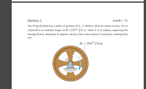 the 50 kg flywheel has a radius of gyration of k 0 chegg com