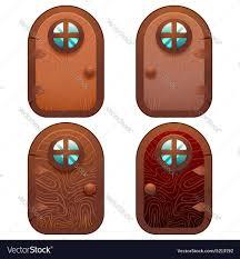 Fairy Door by Cartoon Wooden And Stone Fairy Door For Ui Game Vector Image
