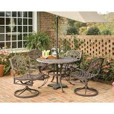 42 Inch Round Patio Table home styles biscayne 42 in bronze 5 piece round swivel patio